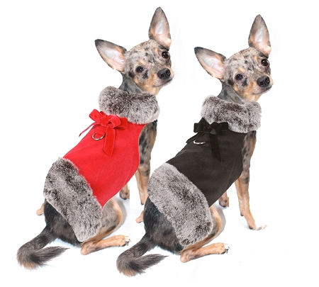 Suede Dog Coat with Grey Faux Fur- Dog Coats and Designer